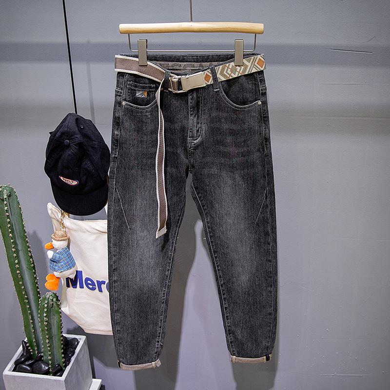 Spring new high-end jeans mens fashion brand elastic slim pants Korean fashion versatile simple long pants