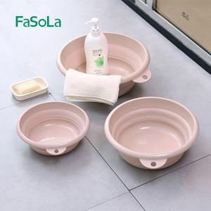 日本便携式可折叠洗脸盆旅行压缩家用大号盆子学生宿舍洗衣盆水盆