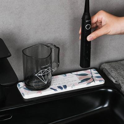 硅藻泥吸水垫洗漱台垫子地垫速干硅藻土洗手台防水杯垫皂托肥皂盒