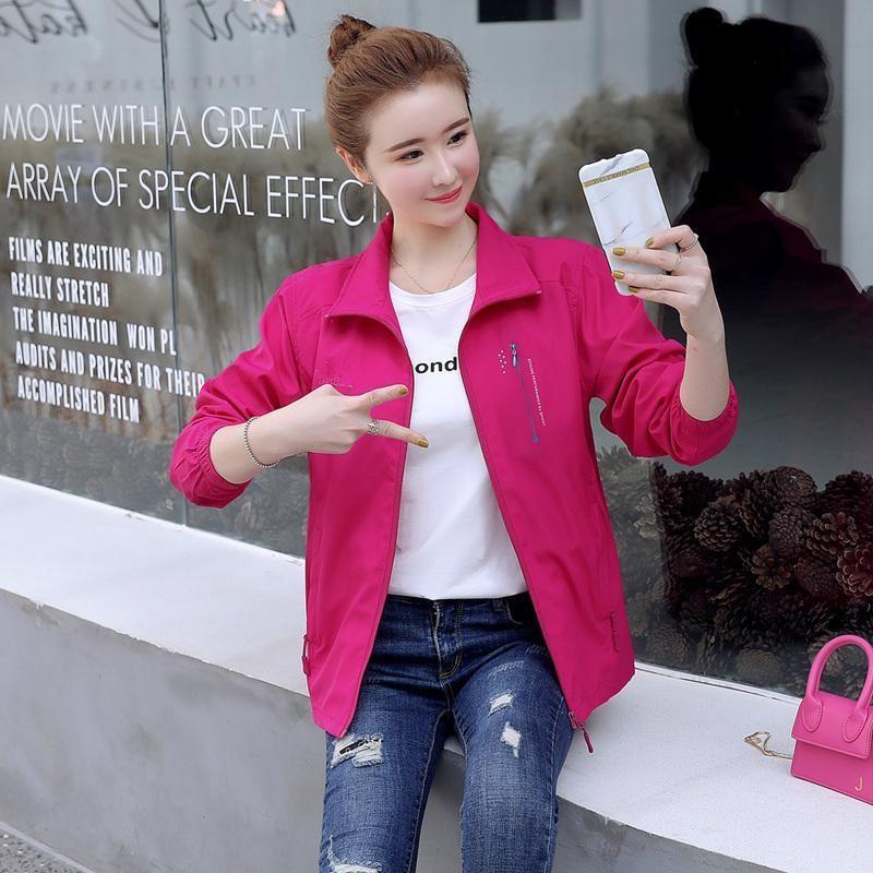 2020新款春秋大码休闲户外运动短外套女韩版夹克上衣女装风衣工服