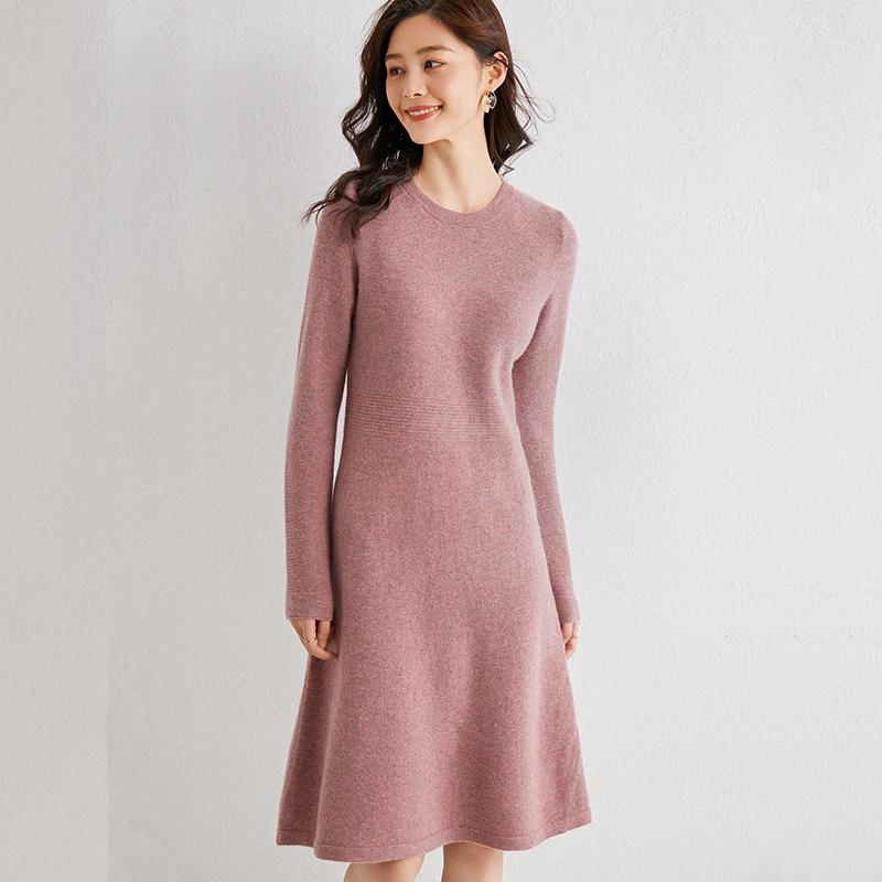 2020秋冬新款羊毛针织连衣裙气质过膝修身显瘦中长款打底毛衣裙子