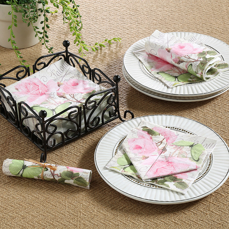 Elwood green evergreen western style tissue paper handkerchief paper dining table square towel environmental paper towel 6 bags of roses