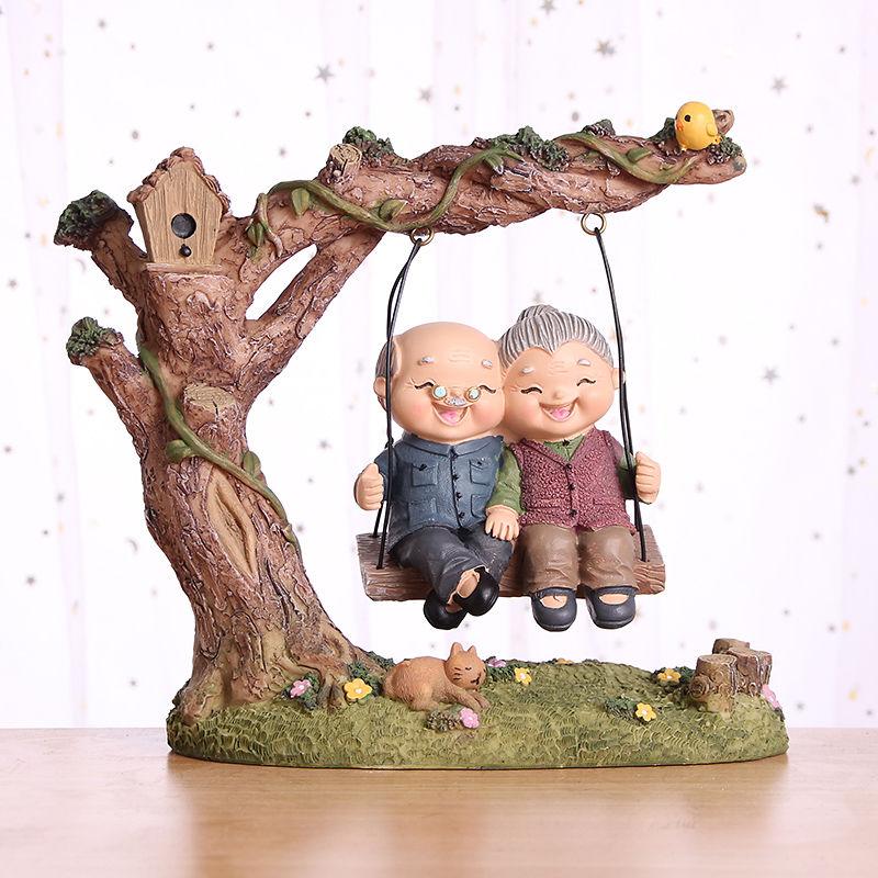 情侣夫妻老头老太太摆件爷爷奶奶老人情景家居饰品结婚-老人礼品(丹红旗舰店仅售53.2元)