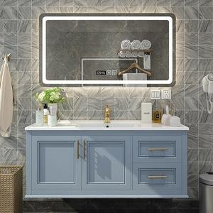 岩板浴室柜组合一体盆轻奢镜洗脸盆