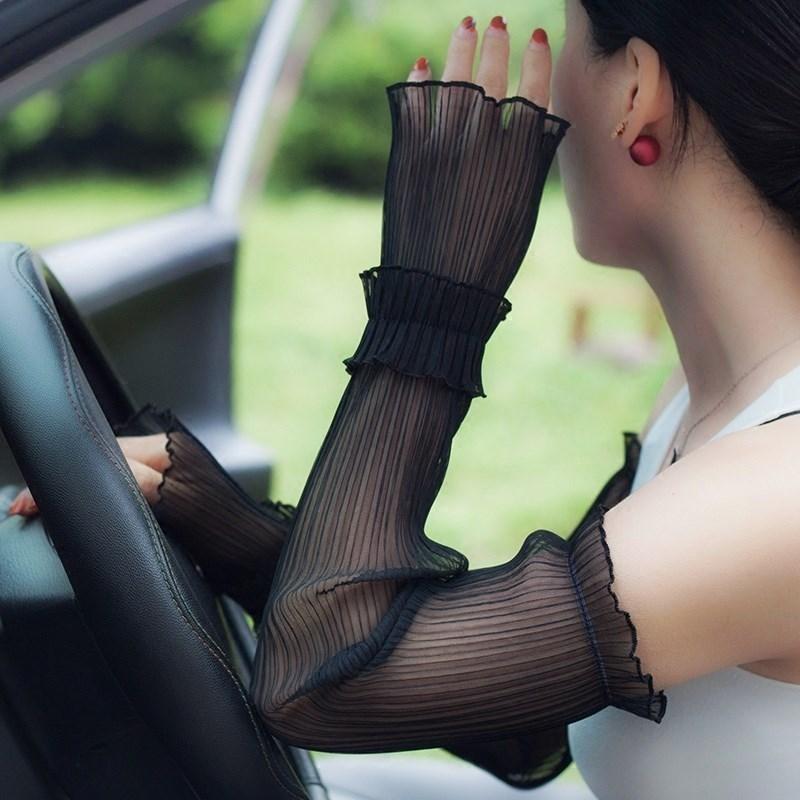 透气黑色户外女蕾丝长款手袖护臂袖套防晒舒适夏季骑行结实护袖满20.44元可用2.45元优惠券