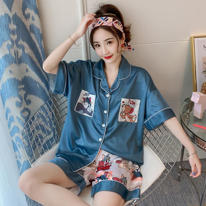睡衣女夏季冰丝韩版学生丝绸短袖性感两件套装女士夏天薄款家居服