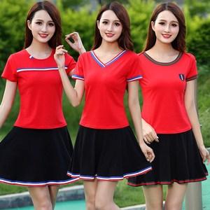 广场舞服装新款套装夏季运动休闲连衣裙二件套成人舞蹈演出跳春夏
