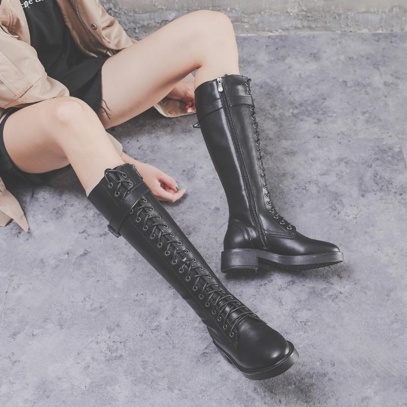 秋冬季平底女高筒靴不过膝真皮网红靴韩版圆头显瘦长靴中跟马丁靴