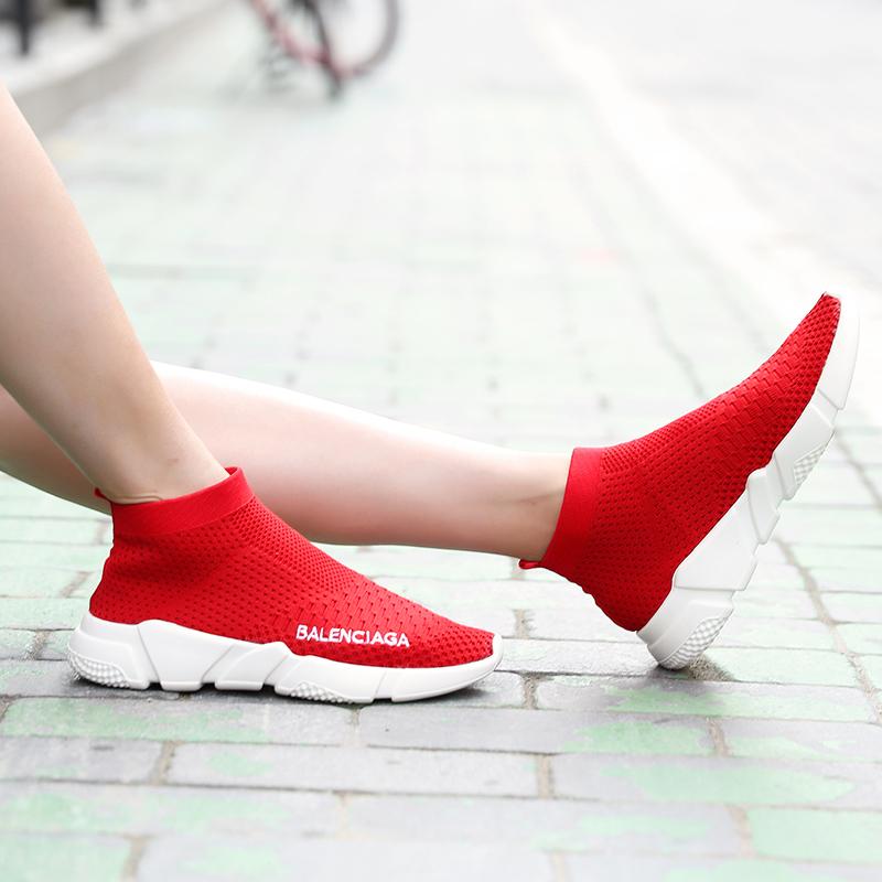 袜子鞋女2019夏季薄款韩版百搭网红潮鞋休闲弹力针织高帮运动袜靴