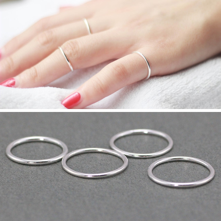 S925 Sterling Silver aperture fine single lucky ring versatile simple joint ring mens and womens tail ring ins cool trend