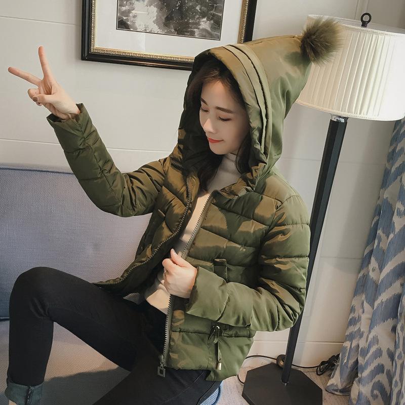 圣诞帽棉袄女2018新款韩版女士羽绒棉衣矮个子棉服短款防寒服60