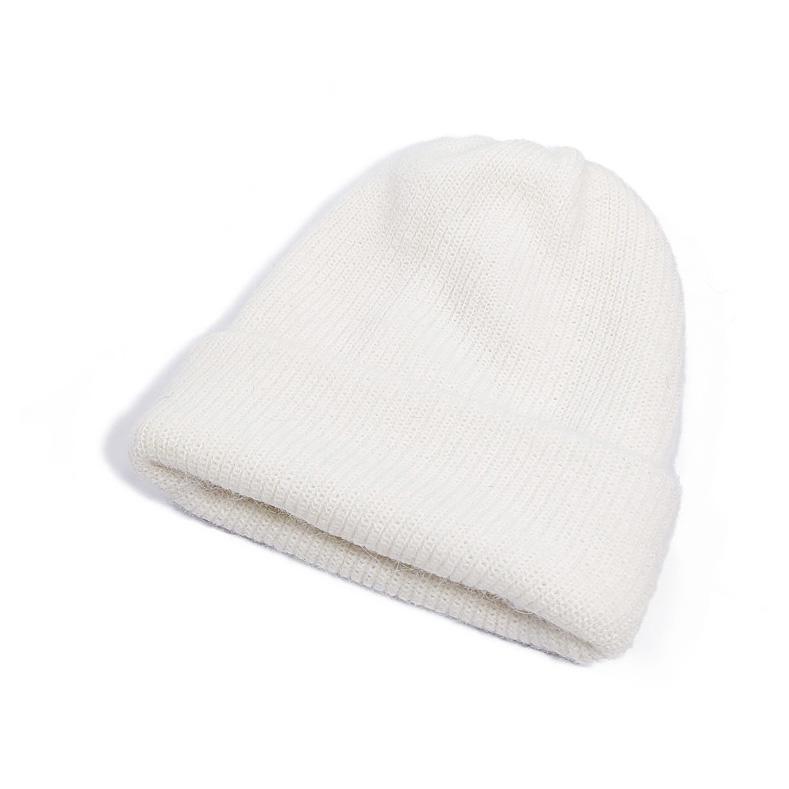 帽子女秋冬百搭毛线帽韩版潮套头包头帽乔晶晶同款日系白色针织帽