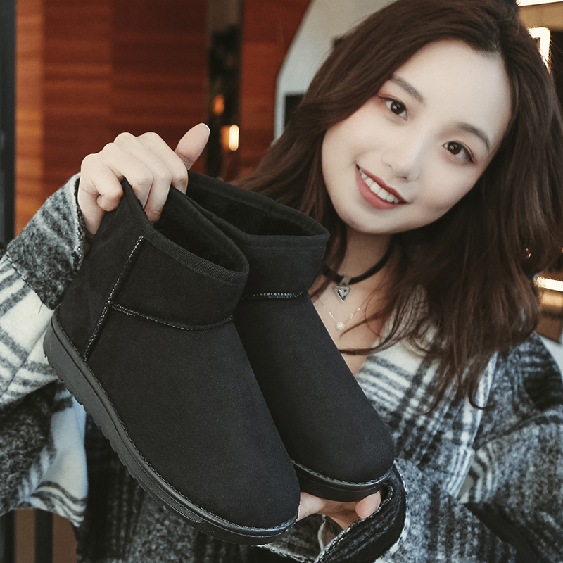 2019 new winter Korean style all-around short boots, cotton shoes, womens Plush warm snow boots, womens short barrel, thick bottom, short boots trend