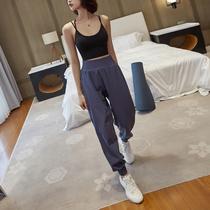 运动裤女夏季薄款宽松束脚休闲哈伦裤健身房跑步速干高腰瑜伽长裤