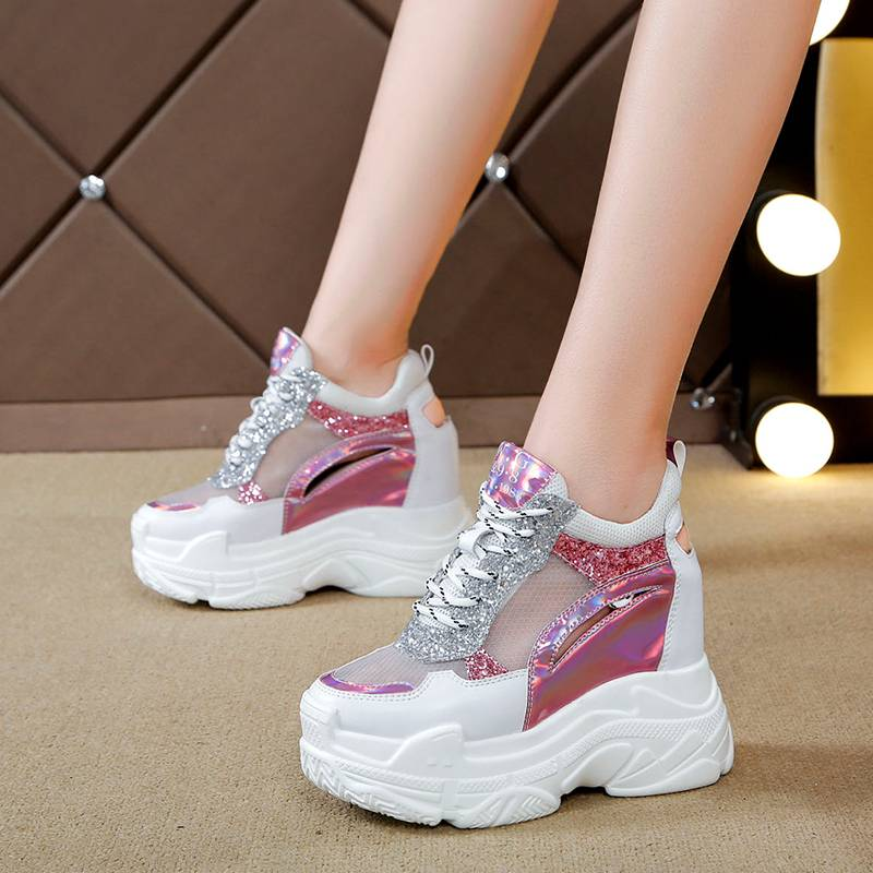 Slope heel sandals womens summer 2020 new muffin thick sole with hollowed out mesh surface