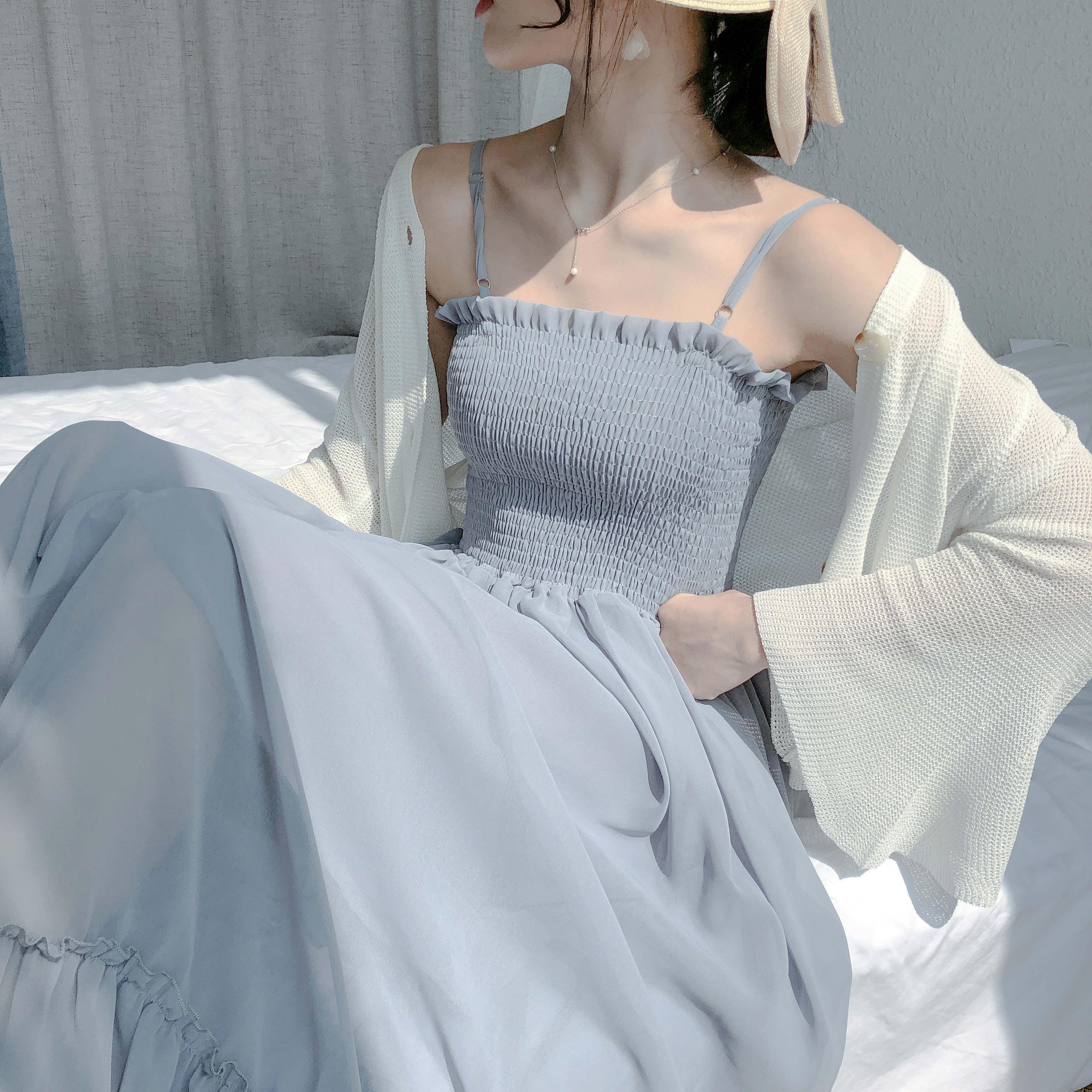 外套/连衣裙 韩版夏季ins超仙女甜美中长款雪纺吊带裙子女学生潮