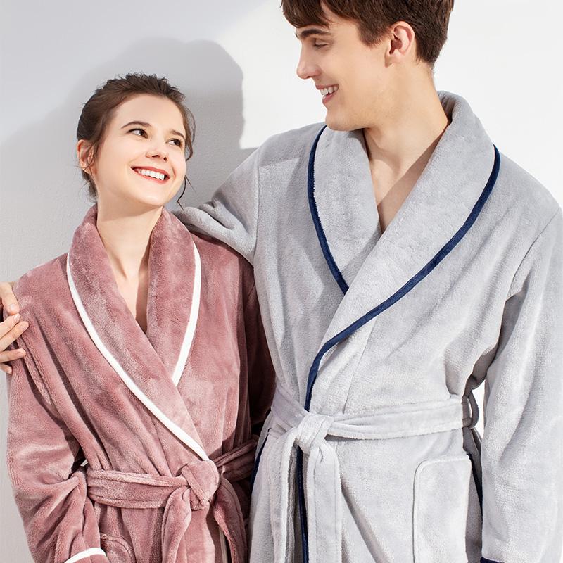 睡袍女冬季珊瑚绒睡衣情侣大码结婚一对加厚中长款法兰绒浴袍男冬