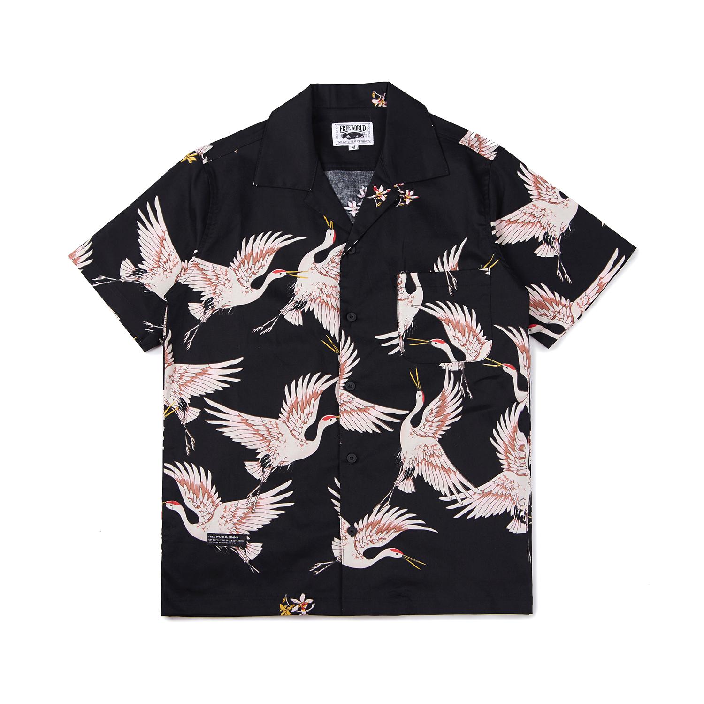 FREEWORLD 18S 80S黑帮复古大翻领短袖衬衫 日式白鹤图案休闲半袖