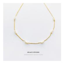 G法式天然珍珠锁骨链女简约仙气超细珍珠叠戴项链chokerS格蕾丝
