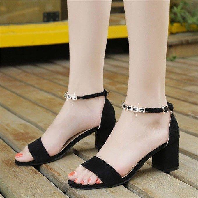凉鞋女粗跟学生韩版带露趾水钻高跟鞋中跟夏天鞋子