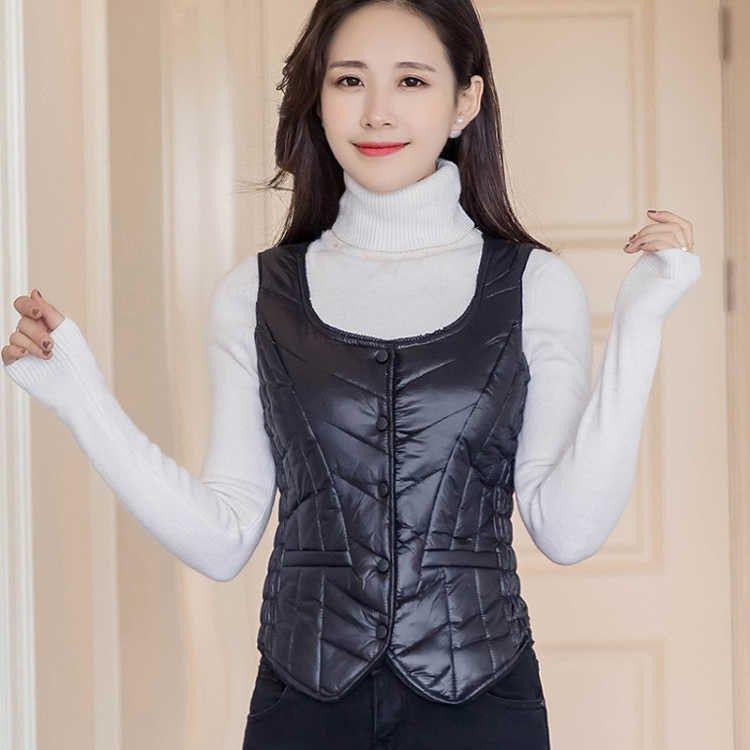 新款轻薄短款修身显瘦韩版女装羽绒服羽绒背心保暖坎肩马甲