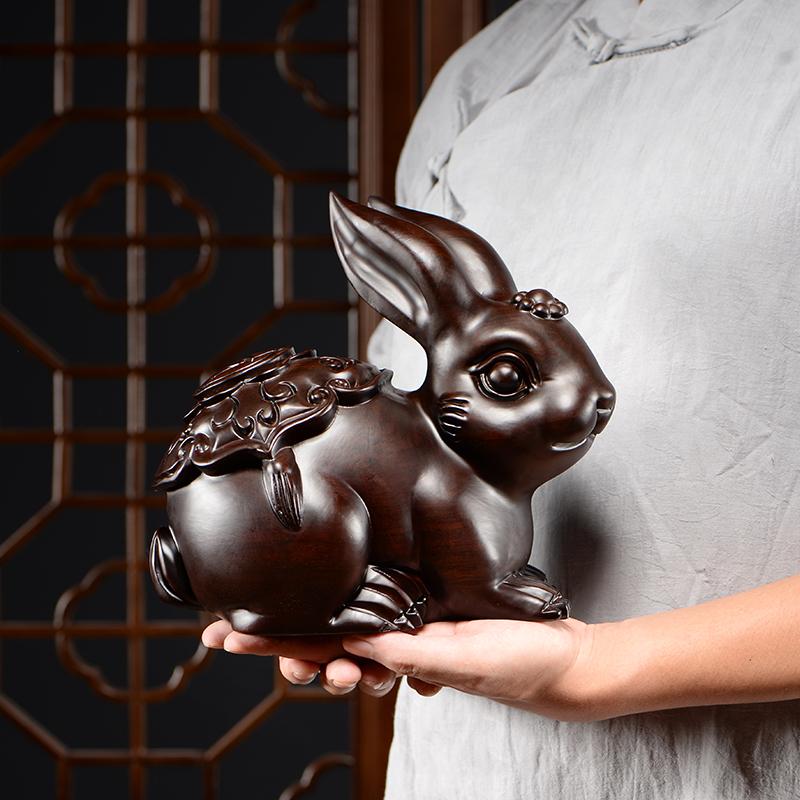 木雕摆件小兔子实木制雕刻可爱动物家居客厅书架装饰红木工艺礼品