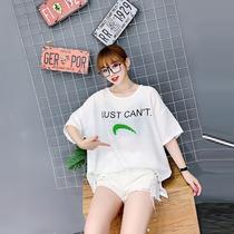 2020年夏季新款韩版加肥加大码女装胖mm遮肚藏肉半袖T恤减龄上衣
