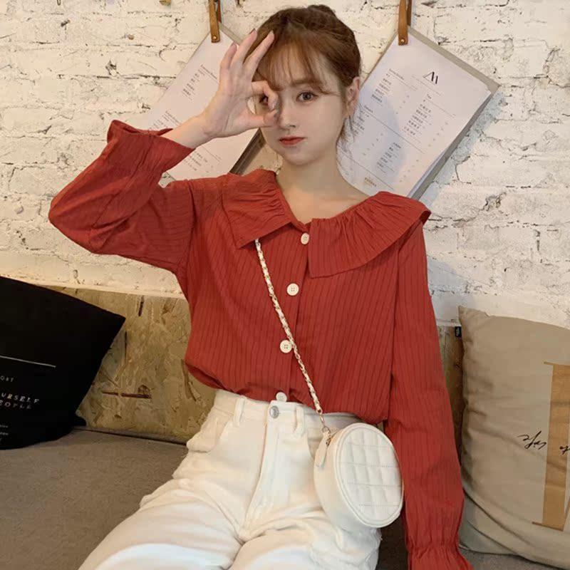 秋季2019新款女装娃娃领衬衫长袖设计感小众衬衣初秋复古港味上衣