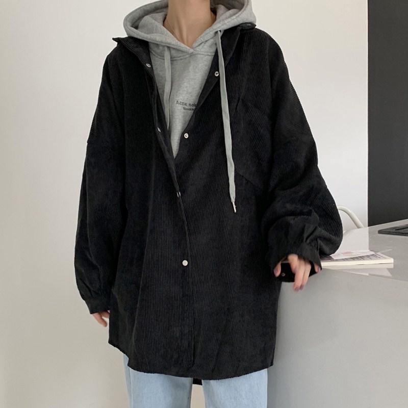 灯笼袖衬衫外套女装ins潮秋季新款2019韩版宽松中长款衬衣上衣潮