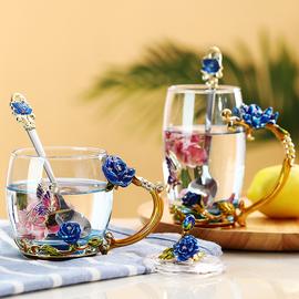 创意珐琅彩水杯家用无铅玻璃杯欧式花茶杯女可爱泡茶杯子带盖套装