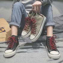 秋季新款潮鞋拉链帆布鞋男高帮韩版潮流百搭休闲高邦板鞋男学生鞋
