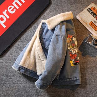 儿童装男童加绒加厚牛仔外套2020年新款男孩秋冬款中大童秋冬装潮图片