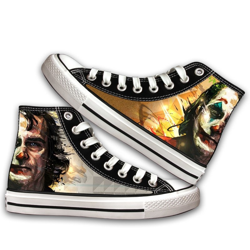 Clown Batman DC film animation surrounding men and women spring and summer new student high top casual canvas shoes printing