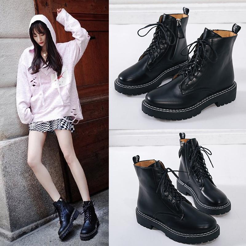 杨幂同款鞋夏季马丁靴女透气帅气厚底工装黑色英伦风机车短靴子