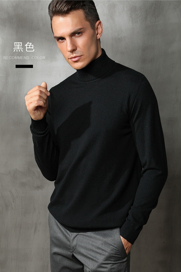 Winter new mens high collar sweater slim fitting sweater bottoming versatile wear arts and business warm