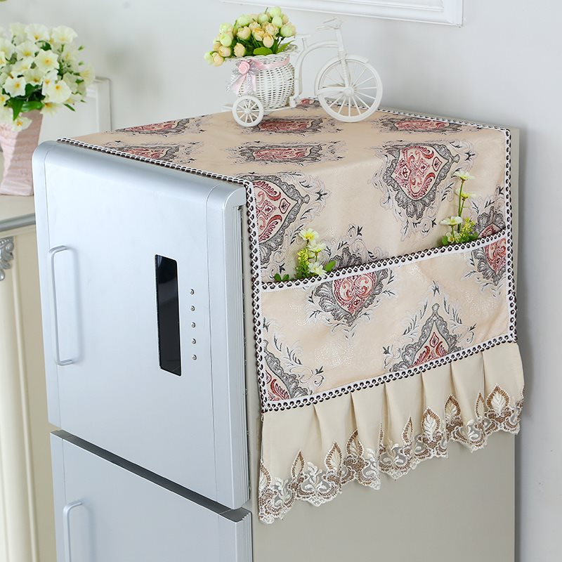 冰箱盖布防尘罩收纳袋家电顶盖巾洗衣机罩家用欧式遮冰箱罩挂袋