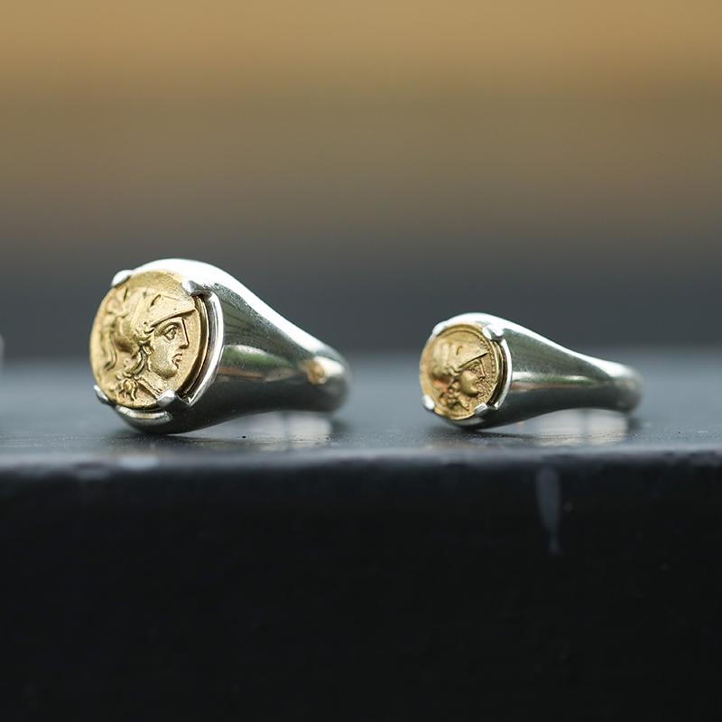 偶屿原创古希腊金铜币战神雅典娜像镶嵌纯银情侣戒指男金币戒指图片
