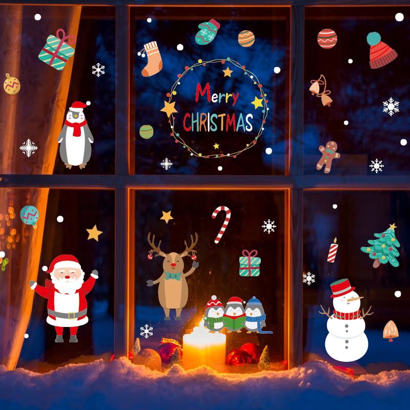 圣诞节装饰窗贴橱窗玻璃贴纸场景布置圣诞老人雪人雪花自粘墙贴画,可领取2元天猫优惠券