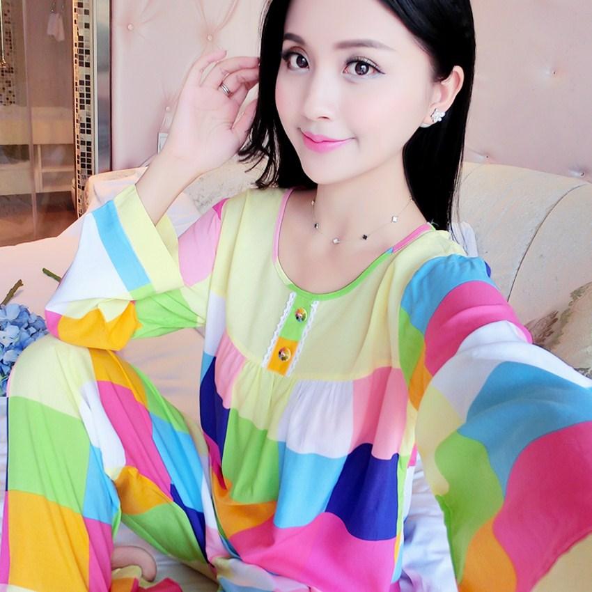 Japanese cotton silk pajamas womens spring autumn Korean version thin cotton silk womens long sleeve suit summer home size