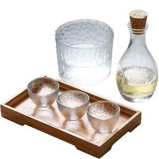 日式玻璃酒具套装锤目纹小酒杯