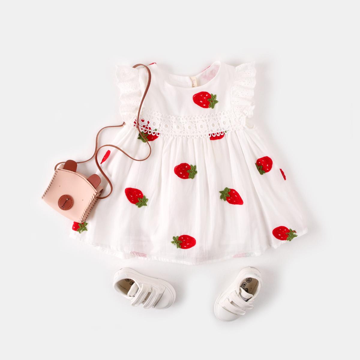 草莓短袖女童连衣裙宝宝夏装纯棉背心裙2019新款儿童童装婴儿裙子热销6件限时秒杀