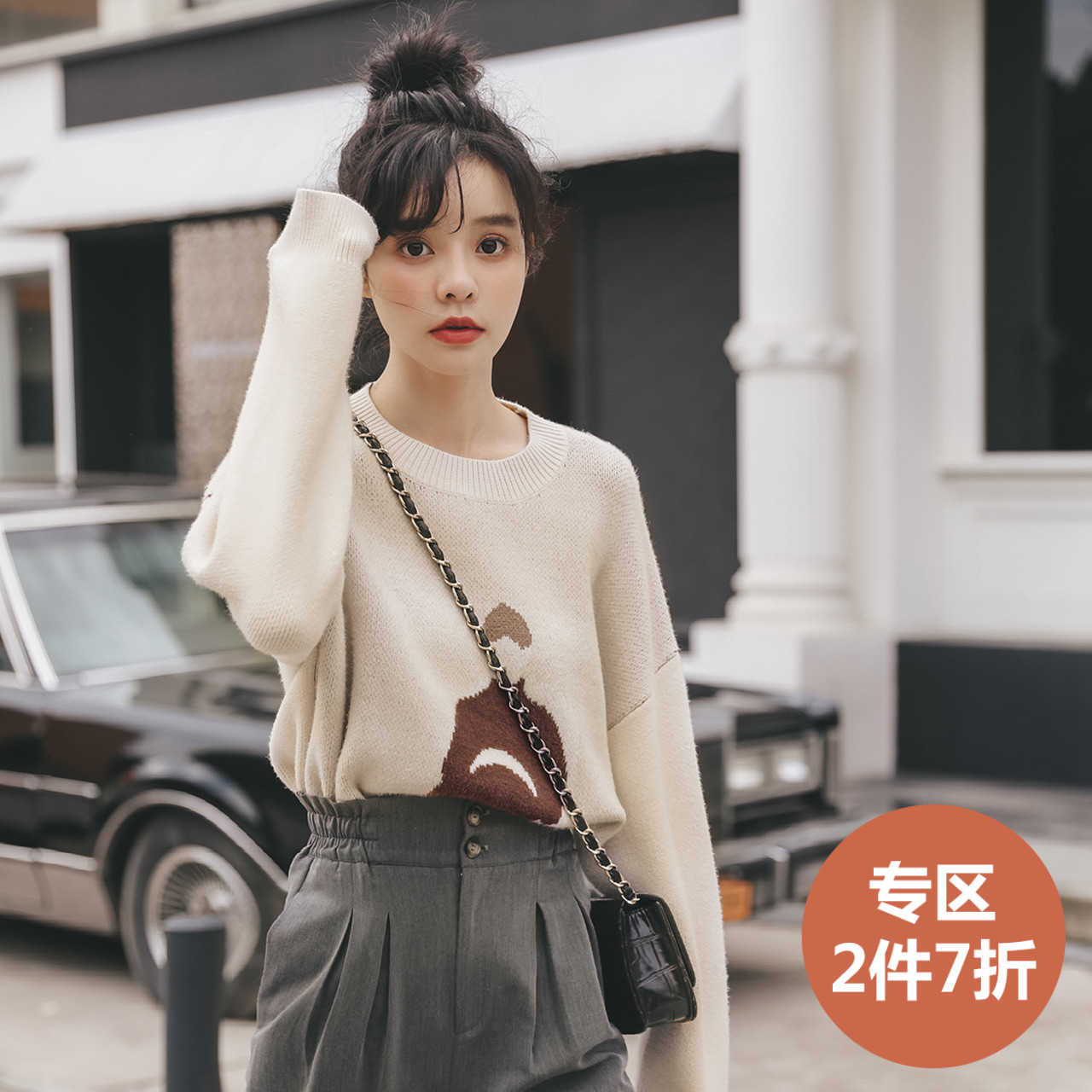 Graphic cartoon T-shirt autumn and winter 2019 new womens lazy long sleeve Korean loose and versatile thin top sweater
