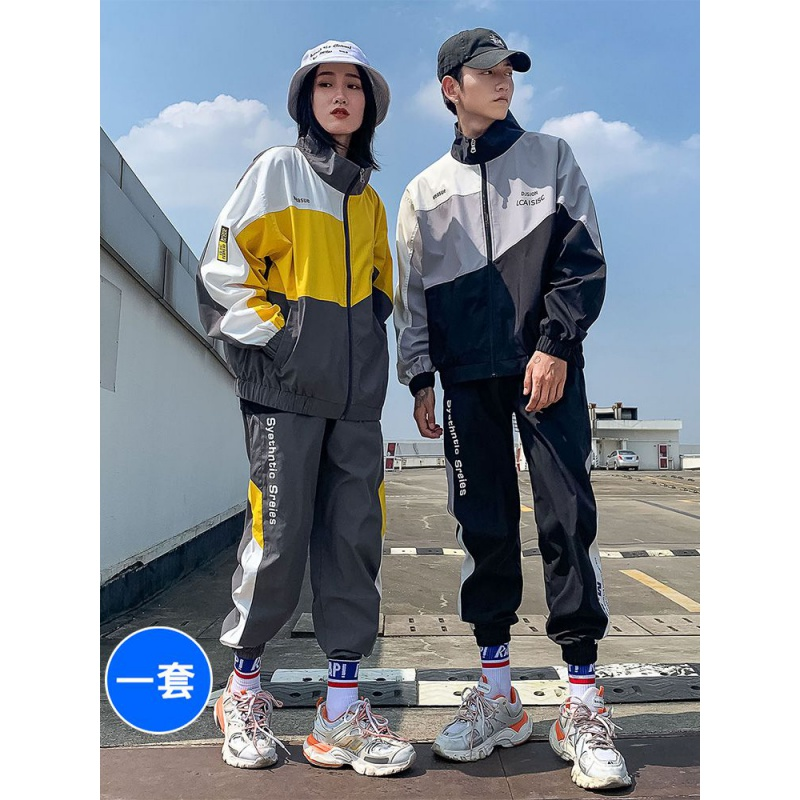 Jacket mens sports protective suit Korean spring and autumn trend couple handsome match with a set of casual jacket mens wear