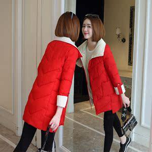 棉衣女2019新款韩版冬中长款棉服配色加厚修身面包服棉袄女装外套