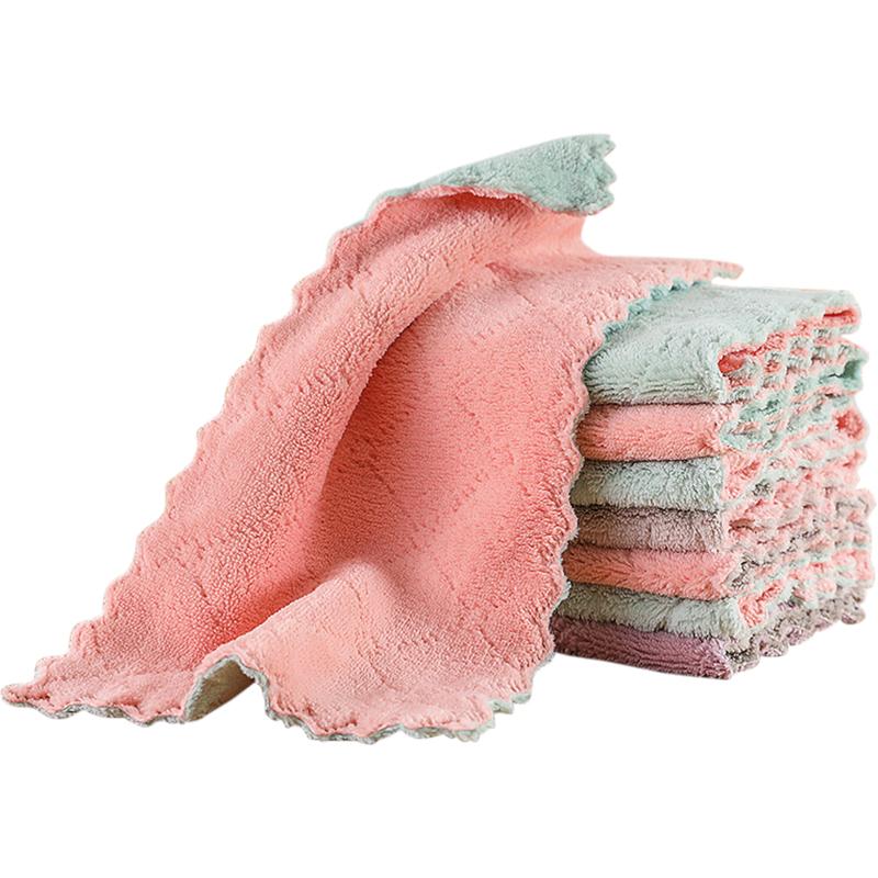 双面珊瑚绒吸水厚擦桌清洁洗碗布