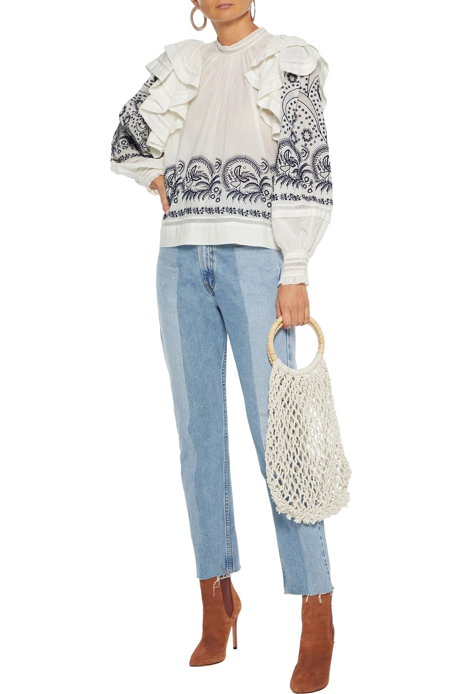 Purchase of Ulla Johnson 20 autumn / winter Bohemian embroidered lotus sleeve shirt ANNETTA