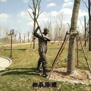 农耕新款落地中式农民劳动玻璃钢仿铜人物园林户外艺术品室外雕塑