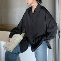 MSMEEG原创日本醋酸气质OL衬衣黑金色灯笼袖宽松翻领中长款衬衫女