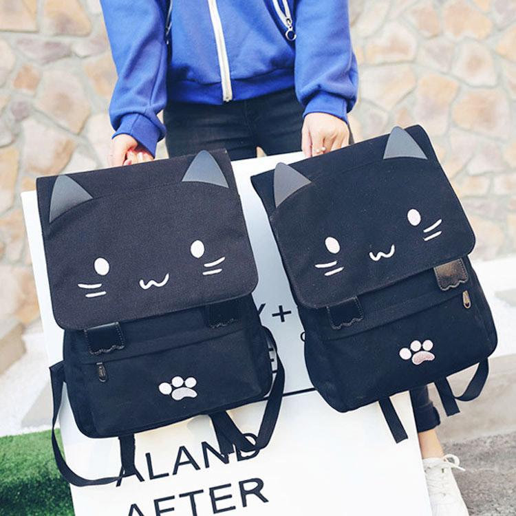 Вторичный юань анимация периферия милый кот. микрофон кошачий рюкзак рюкзак студент мягкий сестра холст портфель цвет письмо росток