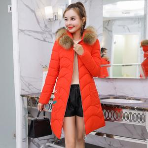 32韩版潮中长款棉衣女2018年冬季新款棉袄女修身大毛领加厚棉服女